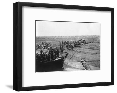 British Troops Unloading Dates on the Shore of the Tigris River, 1918--Framed Art Print