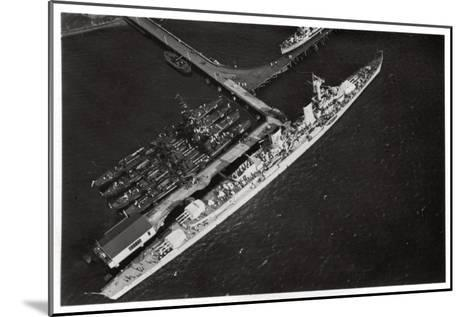 Aerial View of the German Light Cruiser 'Karlsruhe, from a Zeppelin, C1931--Mounted Giclee Print
