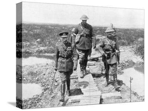 King George V and the Canadian General Currie View the Captured Ground at Vimy and Messines, 1917--Stretched Canvas Print