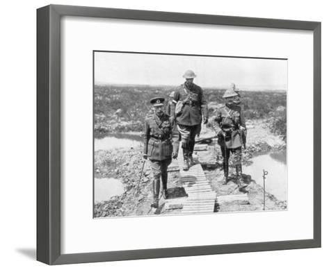 King George V and the Canadian General Currie View the Captured Ground at Vimy and Messines, 1917--Framed Art Print