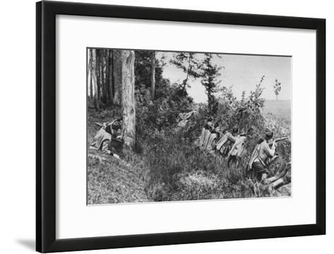 Vanguard of Austro-Hungarian Uhlans Occupying a Clearing in a Forest, World War I, 1917--Framed Art Print