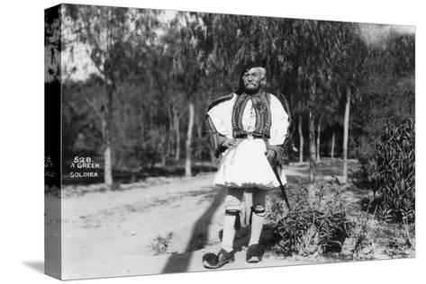 A Greek Soldier in Traditional Uniform, C1920s-C1930s--Stretched Canvas Print