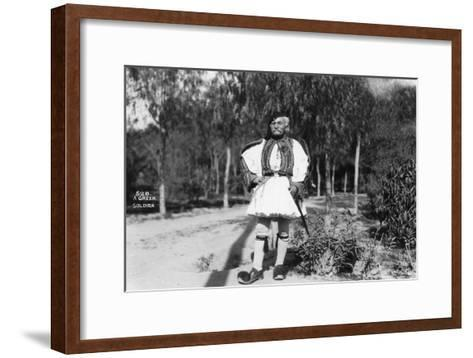 A Greek Soldier in Traditional Uniform, C1920s-C1930s--Framed Art Print
