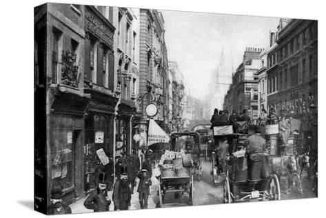 Fleet Street as Seen from Opposite Salisbury Court, London, 1880--Stretched Canvas Print