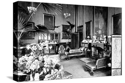 The Red Drawing Room in the Speaker's House, Palace of Westminster, London, C1905--Stretched Canvas Print