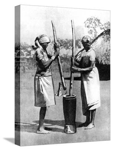 Two Mashona Tribeswomen Pounding Maize and Millet, Zimbabwe, Africa, 1936--Stretched Canvas Print