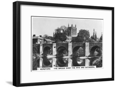 The Bridge over the Wye and Cathedral, Hereford, 1936--Framed Art Print