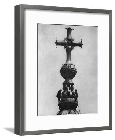 Steeplejacks on the Summit of St Paul's Cathedral, London, 1926-1927--Framed Art Print