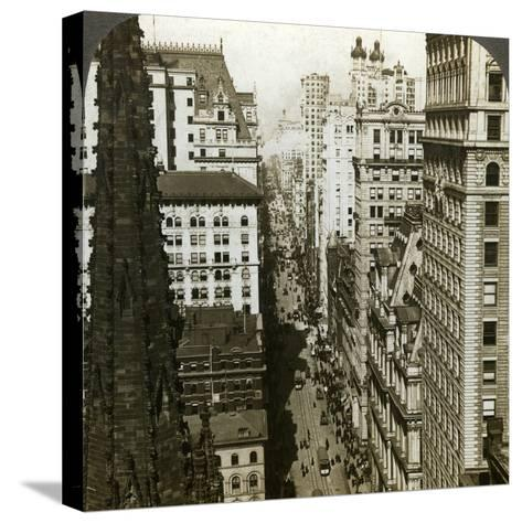 Trinity Church and Broadway, New York, Usa-Underwood & Underwood-Stretched Canvas Print