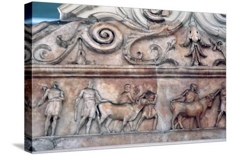 Sacrifice Scene on the Ara Pacis, Rome--Stretched Canvas Print
