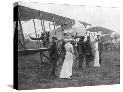 Queen Elisabeth of Belgium Visiting Allied Pilots, C1915--Stretched Canvas Print