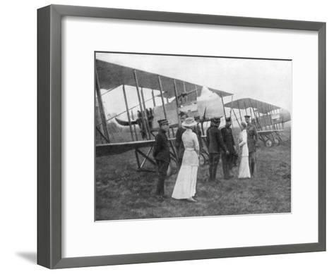 Queen Elisabeth of Belgium Visiting Allied Pilots, C1915--Framed Art Print