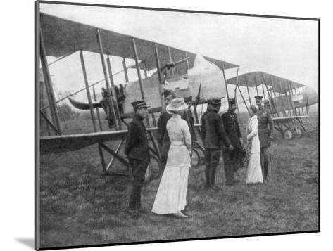 Queen Elisabeth of Belgium Visiting Allied Pilots, C1915--Mounted Giclee Print