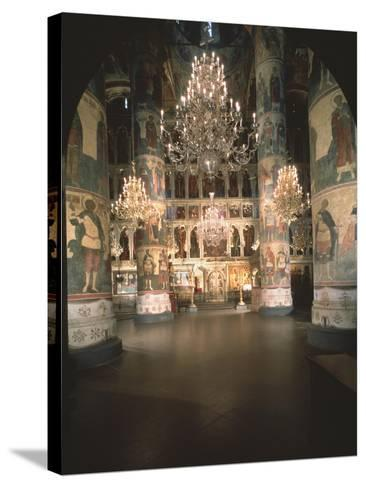 Interior with the Iconostasis in the Assumption of the Blessed Virgin Cathedral--Stretched Canvas Print