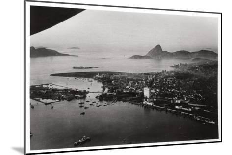 Aerial View of Rio De Janeiro, Brazil, from a Zeppelin, 1930--Mounted Giclee Print