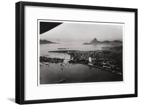 Aerial View of Rio De Janeiro, Brazil, from a Zeppelin, 1930--Framed Art Print