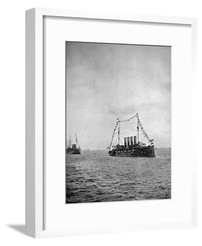 Naval Review Off the Coast of Portsmouth, 1907--Framed Art Print
