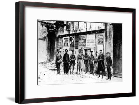African Chasseur, Two Turcos and Three British Soldiers, Soissons, France, First World War, 1914--Framed Art Print