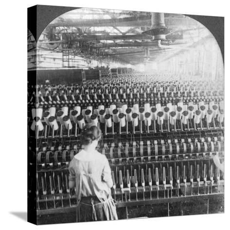Spinning Room, Philadelphia, Pennsylvania, USA, Late 19th or Early 20th Century--Stretched Canvas Print