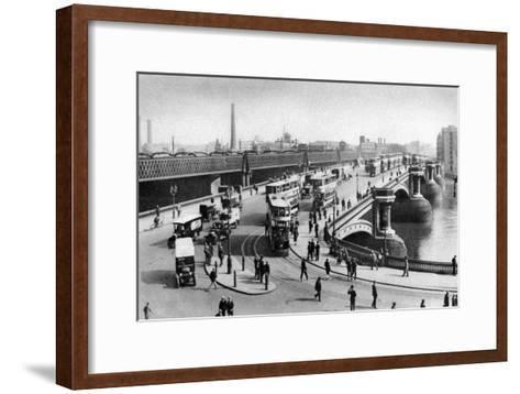 The Two Bridges at Blackfriars, London, 1926-1927--Framed Art Print