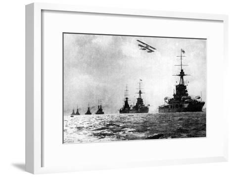 Dreadnoughts and Hydroplane, British Grand Fleet, North Sea, First World War, 1914--Framed Art Print