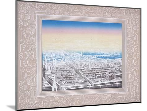 Aerial View of London Framed in a Decorative Border, C1845-Kronheim & Co-Mounted Giclee Print