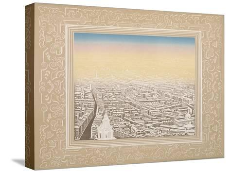 Aerial View of London Framed in a Decorative Border, C1845-Kronheim & Co-Stretched Canvas Print