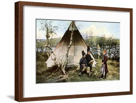 People with a Traditional Tent, Lapland, Sweden, C1923--Framed Art Print