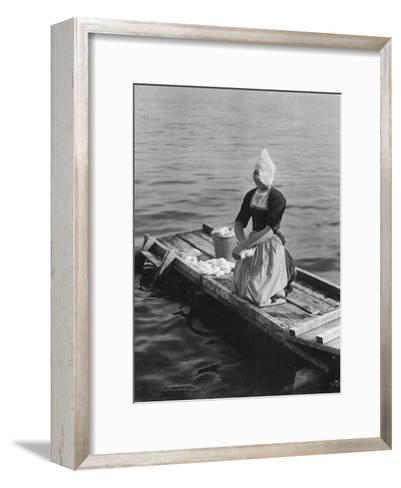 Washing in the Zuider Zee, Volendam, Netherlands, C1934--Framed Art Print