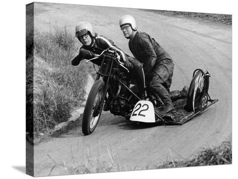 H Wilderspin Taking Part in the Gurston Hill Climb, on a 1936 Matchless Bike, 1971--Stretched Canvas Print