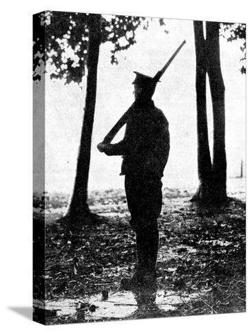 Grey Dawn on the Battlefield, British Cavalry, Belgian Frontier, First World War, 1914--Stretched Canvas Print