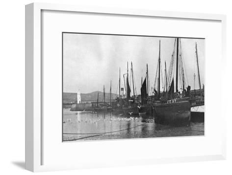Fishing Boats in Port St Mary Harbour, Isle of Man, 1924-1926--Framed Art Print