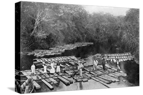 Rafts on the Tebicuary-Mi River, Paraguay, 1911--Stretched Canvas Print