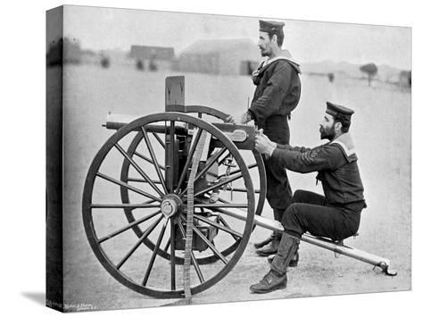 Royal Navy Maxim Gun Practice at Whale Island, Portsmouth, Hampshire, 1896-Gregory & Co-Stretched Canvas Print