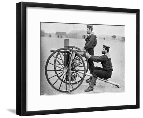 Royal Navy Maxim Gun Practice at Whale Island, Portsmouth, Hampshire, 1896-Gregory & Co-Framed Art Print