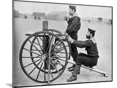 Royal Navy Maxim Gun Practice at Whale Island, Portsmouth, Hampshire, 1896-Gregory & Co-Mounted Giclee Print