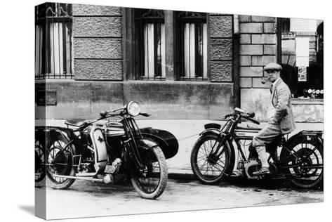 A Man on a Norton Bike, Model 16H 490CC SV, 1924--Stretched Canvas Print