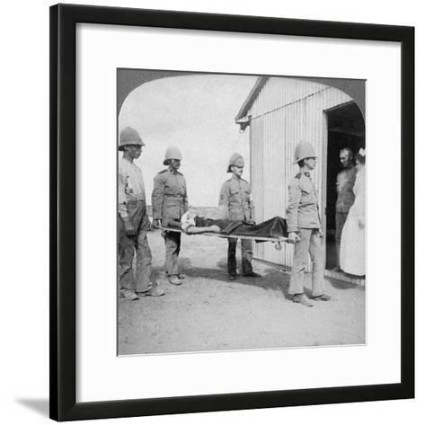 Wounded Fusilier after the Boers' Brave Stand Near Orange River, South Africa, Boer War, 1900-Underwood & Underwood-Framed Art Print