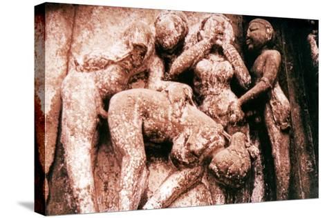 Erotic Sculpture, Hindu Temple, Khajuraho, India, 950-1050--Stretched Canvas Print