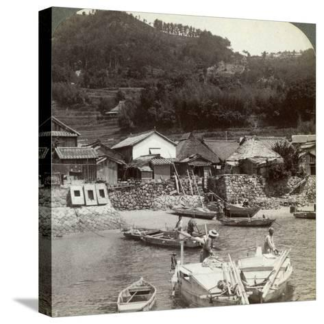 Fishing Village of Obatake on the Inland Sea, Looking North to the Terraced Rice Fields, Japan-Underwood & Underwood-Stretched Canvas Print