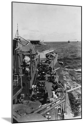 Sailors Sleeping on the Upper Deck of the British Battleship HMS Malaya, C1940-C1941--Mounted Giclee Print