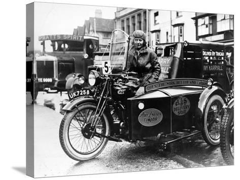 Woman Riding a 1929 500Cc Ajs Motorbike, (C1929)--Stretched Canvas Print