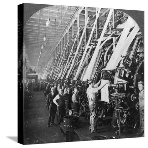 General View of a Large Printing Room in a Cotton Mill, Lawrence, Massachusetts, USA--Stretched Canvas Print