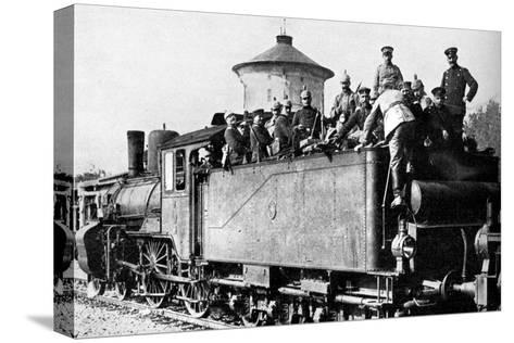 German Troops Travelling by Train to the Eastern Front, First World War, 1914--Stretched Canvas Print
