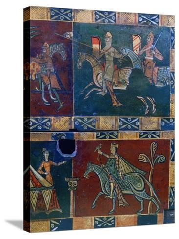 Knights on Horseback and King with a Falcon, 12th Century--Stretched Canvas Print