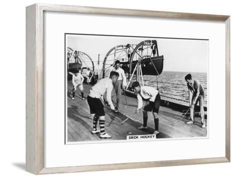 Deck Hockey on Board the Battleship HMS 'Nelson, 1937--Framed Art Print