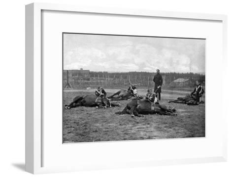 A Party of the 4th (Queen's Ow) Hussars Skirmishing Dismounted, 1896-Gregory & Co-Framed Art Print