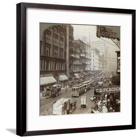 State Street, Chicago, Illinois, USA, 1908-Underwood & Underwood-Framed Art Print