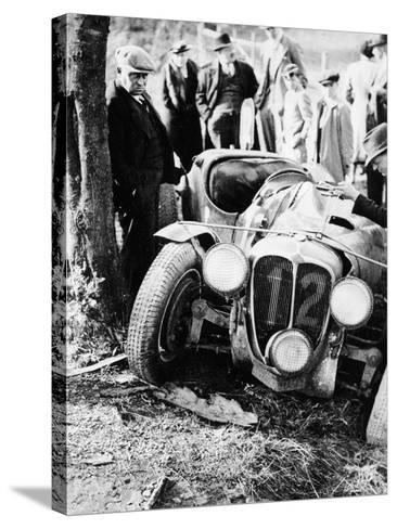 Crash of the Le Mans 24 Hours Winner at Spa, Belgium, 1938--Stretched Canvas Print