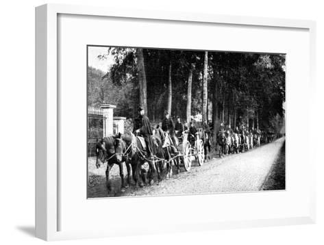 Belgian Artillery Avoiding German Taube Planes, First World War, 1914--Framed Art Print